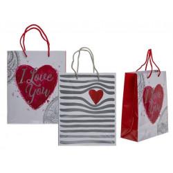 Grossiste sac cadeau à motif cœur de 23 cm
