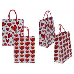 Grossiste sac cadeau à motif petits cœurs de 23 cm
