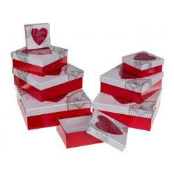 Grossiste lot 8 boîtes cadeau cœur i love you