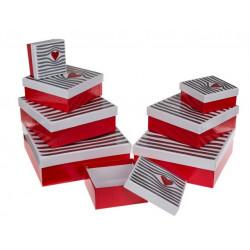 Grossiste lot 8 boîtes cadeau à motif rayé et cœur