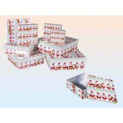 Grossiste lot de 8 boîtes cadeau à motif père noël