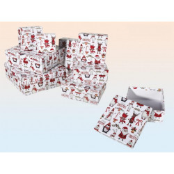 Grossiste lot de 8 boîtes cadeau à motif noël