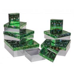 Grossiste lot de 8 boîtes cadeau à motif élan et sapins