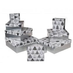 Grossiste lot de 8 boîtes cadeau à motif sapins
