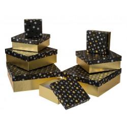 Grossiste lot de 8 boîtes cadeau à motif étoiles dorées