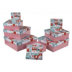 Grossiste lot de 8 boîtes cadeau à motif calendrier de l'avent et vœux