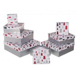 Grossiste lot de 8 boîtes cadeau à motif sapins rouges et argentés