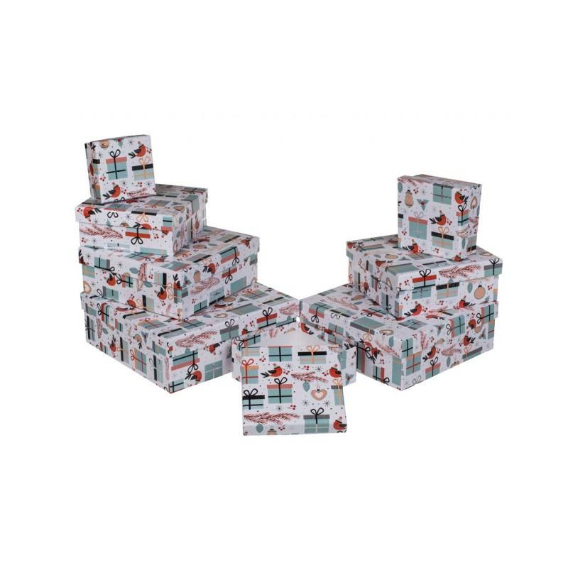 Grossiste lot de 8 boîtes cadeau à motif cadeaux et oiseaux