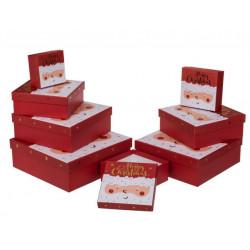 Grossiste lot de 8 boîtes cadeau à motif visage père noël