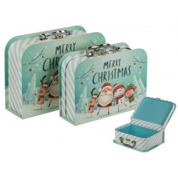 Grossiste lot de2 boîtes cadeau valise merry christmas