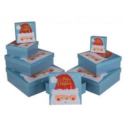 Grossiste lot de 8 boîtes cadeau bleues à motif père noël