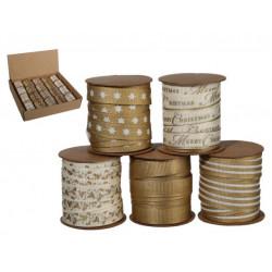 Grossiste présentoir de 20 bobines de ruban dorés noël
