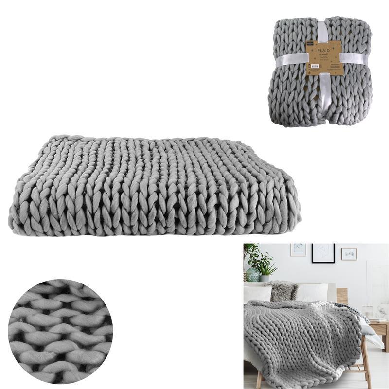 Grossiste plaid gris avec grosse maille chunky 120x150cm