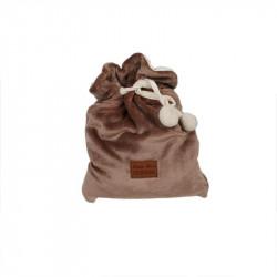 Grossiste plaid pochon flanelle marron à pompons 120x150cm