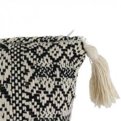 Grossiste coussin ethnique à pompons beige 40x40cm