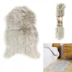 Grossiste tapis imitation fourrure gris clair 60x90cm