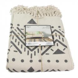 Grossiste tapis ethnique bandes franges 140x200cm