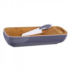 Grossiste et fournisseur. Corbeille à pain 3 en 1 violette avec couteau inclus