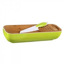 Grossiste et fournisseur. Corbeille à pain 3 en 1 verte avec couteau inclus