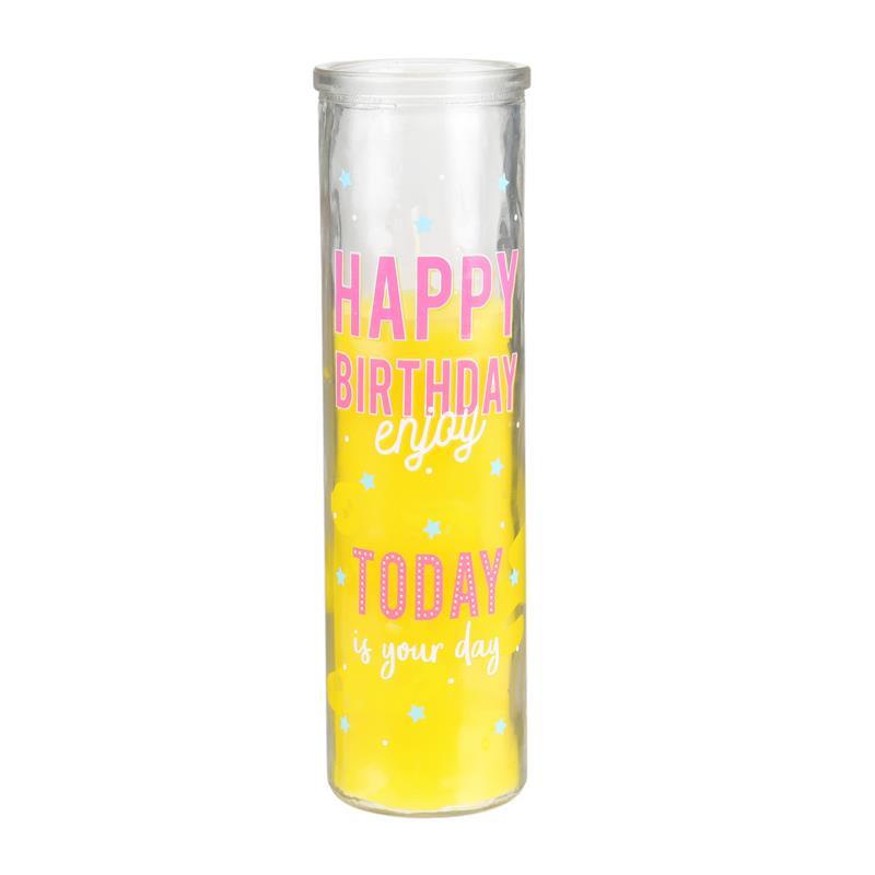 Grossiste bougie d'anniversaire en verre jaune