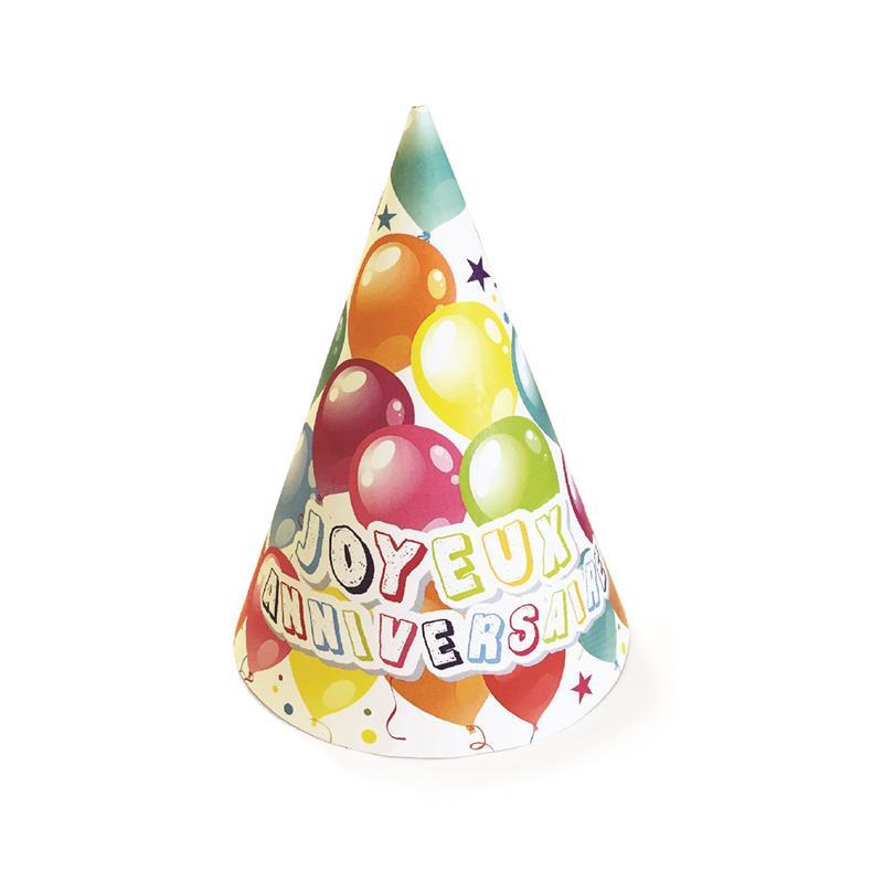Grossiste chapeau d'anniversaire illustration ballons x6