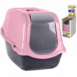 Pink and grey cat toilet box