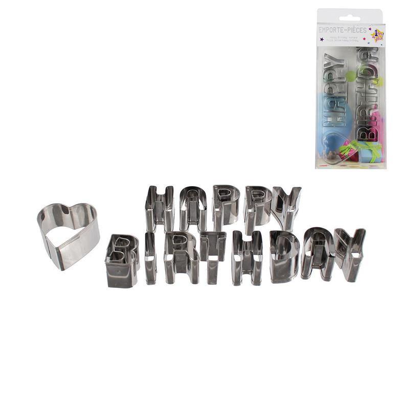 Grossiste emporte-pièce en inox Happy Birthday