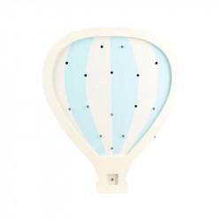 Grossiste lampe bois montgolfière bleue 24x3x29cm