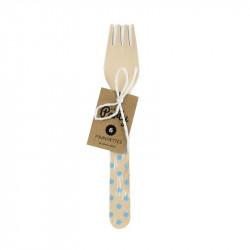 Grossiste fourchette de 16cm à pois bleus x6
