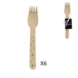 Grossiste fourchette de 16cm avec étoiles dorées x6