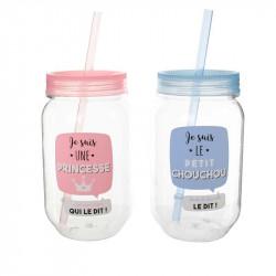Grossiste Mason Jar pour enfant 45cl rose et bleu