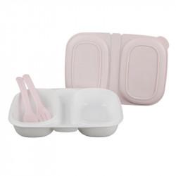 Grossiste boîte repas à compartiments avec 2 couverts roses