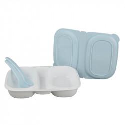 Grossiste boîte repas à compartiments avec 2 couverts bleus