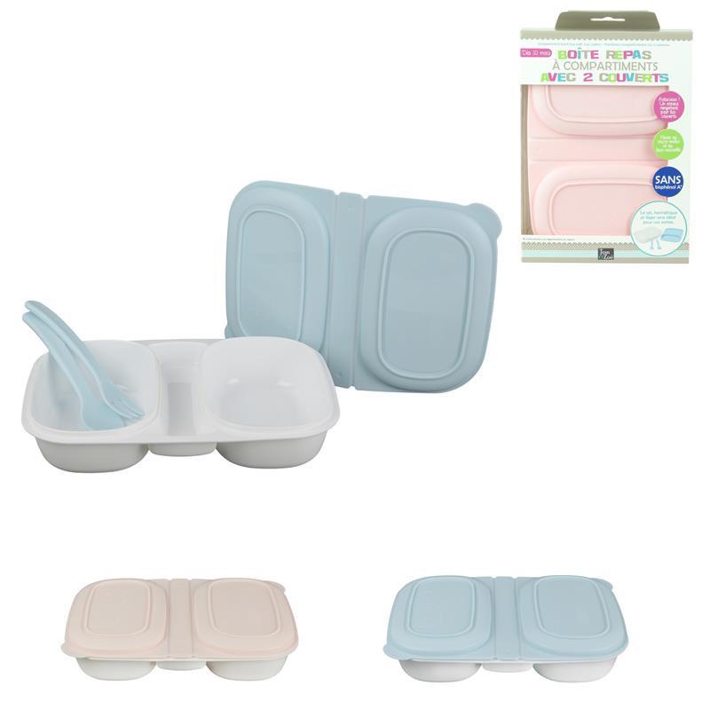 Grossiste boîte repas à compartiments avec 2 couverts