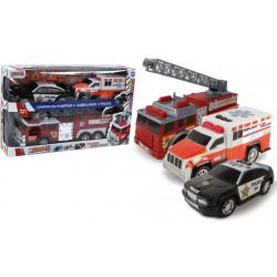 Grossiste coffret 3 véhicules : Police, Pompiers et Ambulance