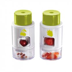 Grossiste ustensile pour découper les fraises avec un dénoyauteur à cerise verts