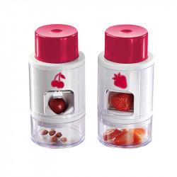 Grossiste ustensile pour découper les fraises avec un dénoyauteur à cerise rouges