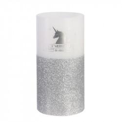 Bougie LED en forme de licorne 15x7.5cm argentée