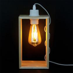 Grossiste lampe à poser avec cadre en bois et câble gris et blanc