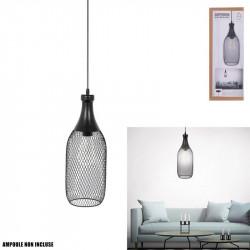Grossiste suspension en forme de bouteille filaire en métal noir