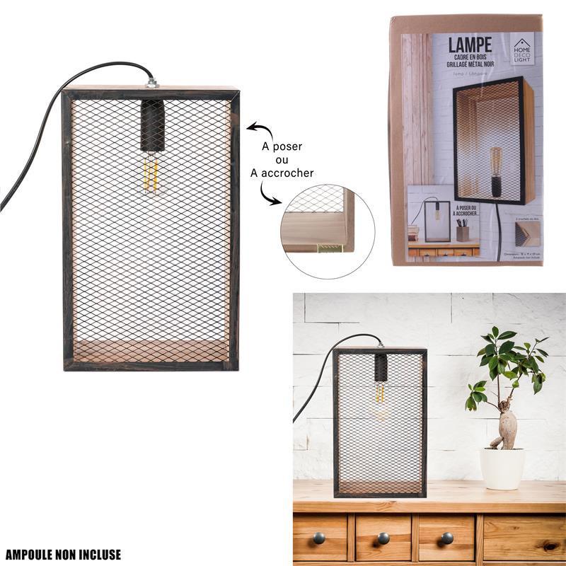 Grossiste lampe à poser avec cadre en bois noir et grille en métal