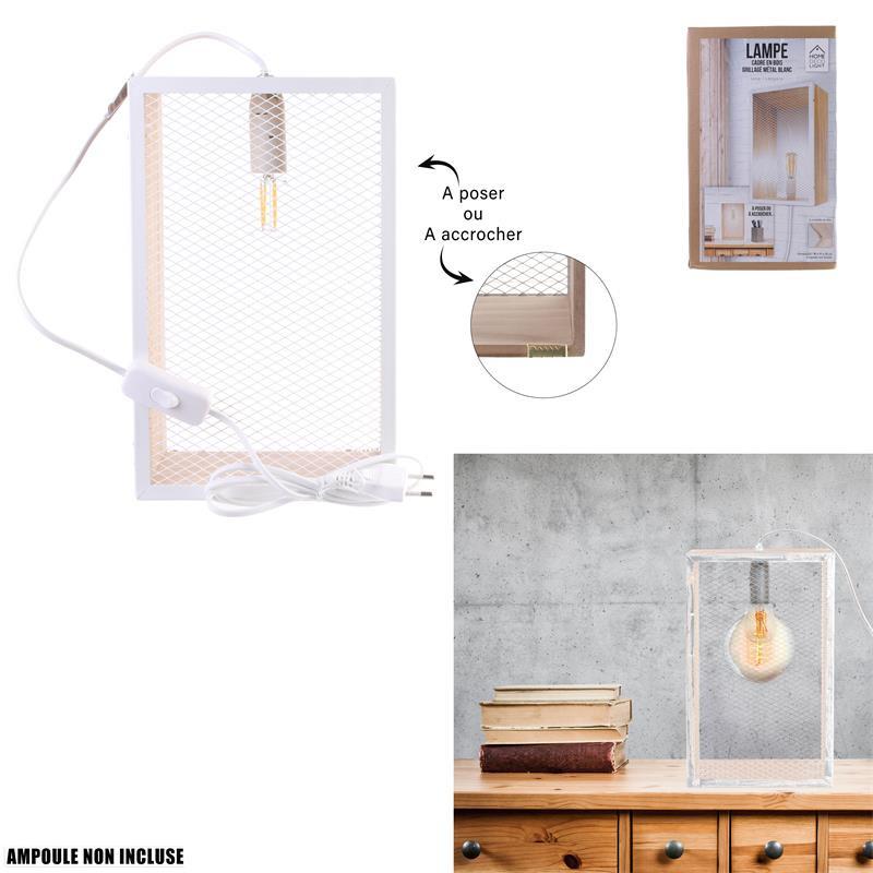 Grossiste lampe à poser avec cadre en bois blanc et grille en métal