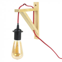 Grossiste lampe murale en bois naturel avec câble rouge