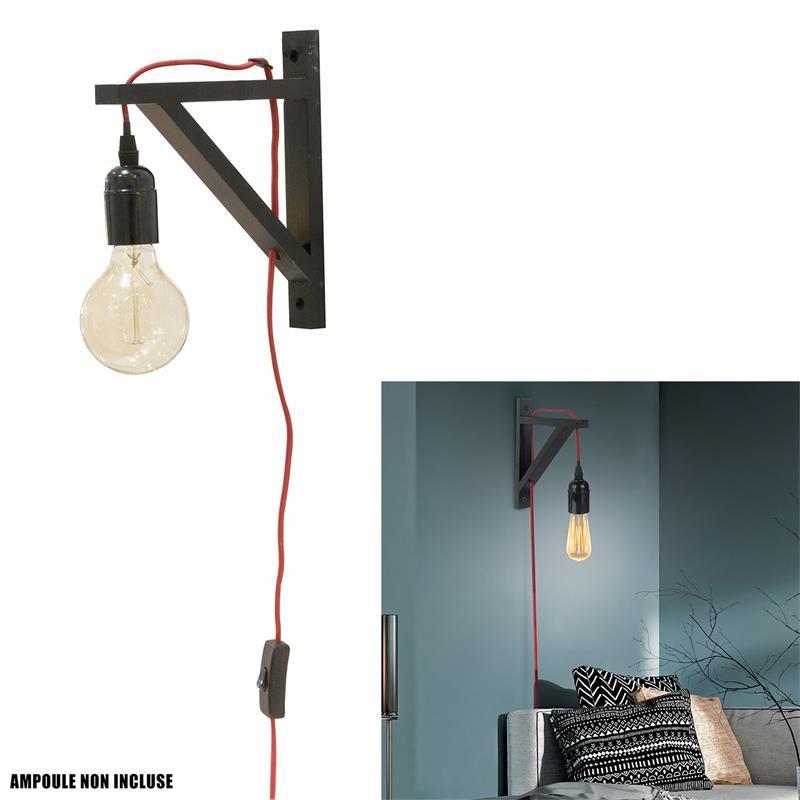 Grossiste lampe murale noire avec câble rouge