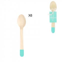 Cuillère de 14cm bleue x6