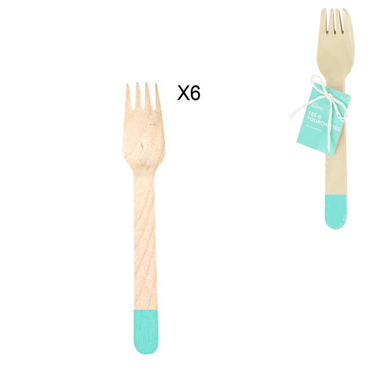 Grossiste fourchette de 16cm bleue X6
