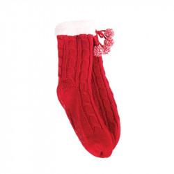Grossiste et fournisseur. Chaussettes d'hiver torsadées pour femme avec pompons rouges
