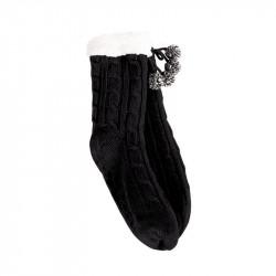 Grossiste et fournisseur. Chaussettes d'hiver torsadées pour femme avec pompons noires