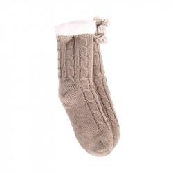 Grossiste et fournisseur. Chaussettes d'hiver torsadées pour femme avec pompons taupes