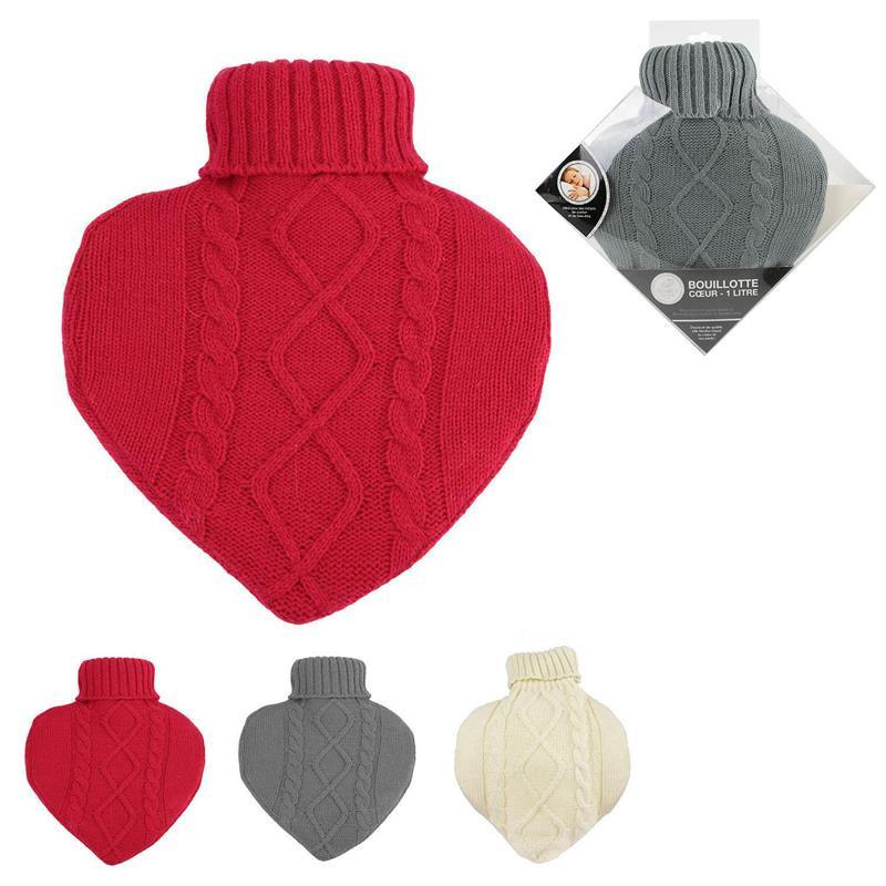 Grossiste bouillotte en laine en forme de coeur 1L